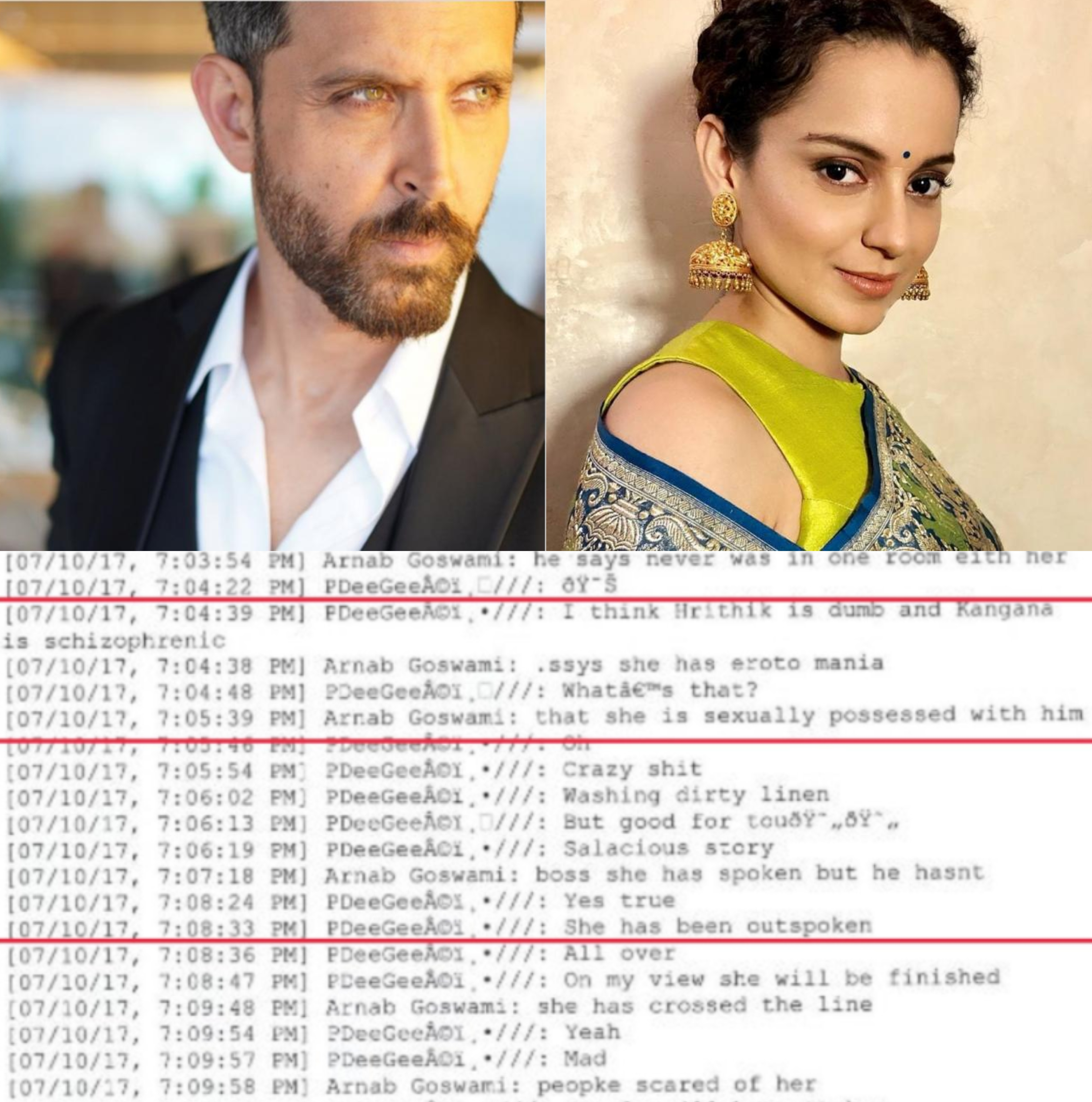 """Hrithik is Dumb, Kangana is sexually possessed with him"""", Arnab Goswami reveals in leaked whatsapp chats 